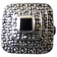 Sterling Silver Square Marcasite Ring with Onyx Center