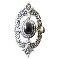 Sterling Silver Oval Marcasite Ring with Onyx Stone