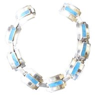 Taxco, Mexico Sterling Silver Bracelet with Inlaid Turquoise Accents