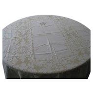 "Nice Light Beige  Large 82"" x120"" Linen Tablecloth"