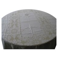"Nice Light Beige  Large 82"" x120"" Linen Tablecloth"