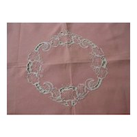 Vintage Pinky Peach Color Embroidered Tablecloth