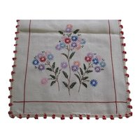 "Embroidered Flowers Linen Dresser Scarf / Runner 40 1/2"" x 13 1/2"""