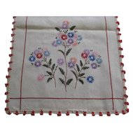 "Embroidered Flowers Linen Dresser Scarf / Runner 40 1/2"" x 13 1/2"""