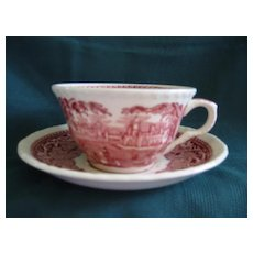 Masons Vista Red Cup and Saucer- Staffordshire ( 2)