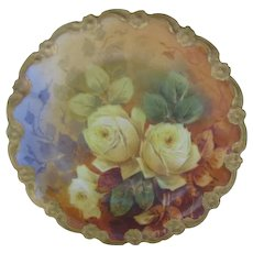 Antique Limoges French Yellow Roses Hand Painted Plate