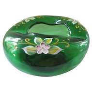 Vintage Bohemian Glass Ashtray ~ Deep Green Color