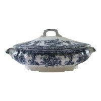 Flow blue Vegetable Dish ~  Bowl With Lid