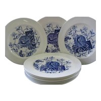 "Eight Mintons 10"" Plates, Blue Aesthetic Transferware ~ Pattern ""Faisan"""