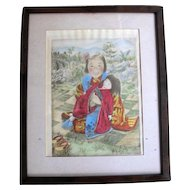 "Willy Seiler Signed Original Hand Colored Etching Print ~ ""Little Mother""  #28 A Edition Limited"