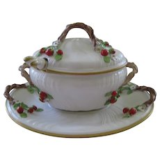 Vintage Italian Design White Medium Size Tureen and Platter With Applied Strawberries