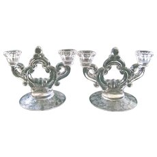 "Pair of Crystal Cambridge Double Candelabrum / Candlesticks ~ Pattern  "" Rose Point"""