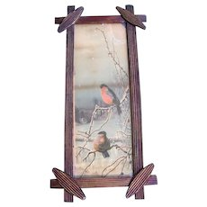 Victorian Criss Cross Wood Frame with Bird Lithograph Print - Late 1800's