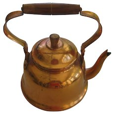 Small Copper Tea Kettle ~ Pot with Wood Handle