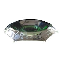 Elegant Early 1900's Green Glass Octagon Console Bowl