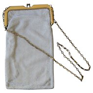Vintage Whiting and Davis White Enamel Mesh Evening Purse / Bag