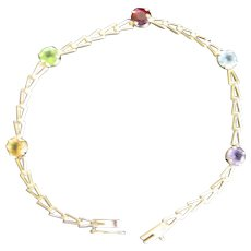 """14K Gold Chain Bracelet with Five Colored Gem Stones  7"""" Lenght"""