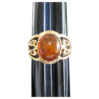 Amber Stone Gold Plated Ring