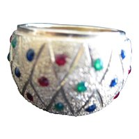 14KT Yellow Gold Diamond Cut Criss Cross Band with Multicolored Stones