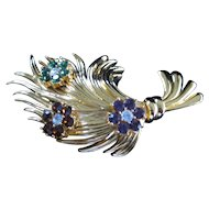 Vintage Carolee Gold Tone Feather Brooch with Rhinestone Flower Clusters