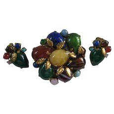 Vintage Flower Brooch/Pin Semi Precious Multicolored Stones with Matching Earrings