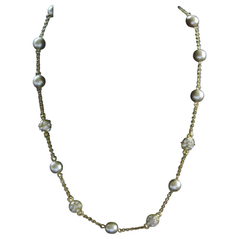 Faux Pearl and Circular Rheinstone Bead Necklace Nolan Miller Necklace with Earrings