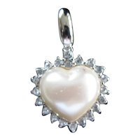 Signed Monet Vintage Faux Pearl Diamond Heart Pendant