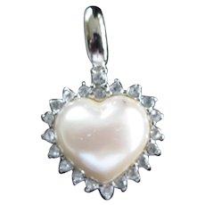 Signed Monet Vintage Faux Pearl Diamond Heart Pendant