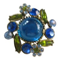 Vintage Brooch/Pin Blue and Green Glass with Blue Rhinestones
