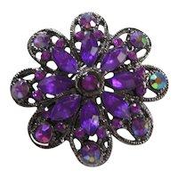 Vintage Deep Purple Rhinestone Brooch/Pin