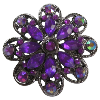 Vintage Deep Purple Rhinestone Brooch/Pin