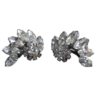 Vintage Kramer Rhinestone Clip Earrings