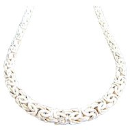 "14K Yellow Gold 19"" Graduated Byzntine Chain Necklace"