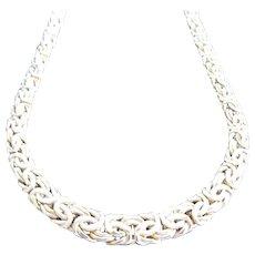 "14K Yellow Gold 19"" Graduated Byzntine Chain Necklace"