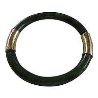Vintage Chinese Green Jade Hinged Bangle Bracelet