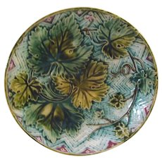 """Majolica Round 8 1/4"""" Plate With Grape Leaves"""