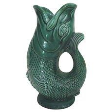 Vintage Devon English Green Fish Vase/Gurgle Pitcher