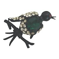 Weiss Brooch/Pin Rhinestone Black Bird on Black Metal