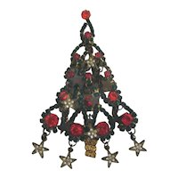 Christmas Tree PinBrooch with Rhinestones