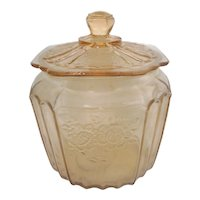 """Pink Mayfair """" Open Rose"""" Depression Glass Cookie Jar  Hocking Glass Co."""