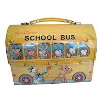 1960's Vintage Retro Lunchbox/Pail - Walt Disney Aladdin Yellow School Bus