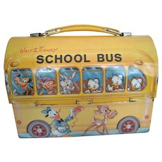 1960's Vintage Retro Lunchbox/Pail - Walt Disney Aladdin Yellow School Bus