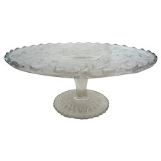Large Vintage Pressed Glass Cake Plate
