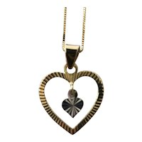 Etched 14K Gold Heart Pendant Necklace