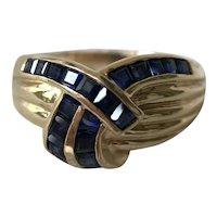 14K Gold Sapphire Criss Cross Knot Ring