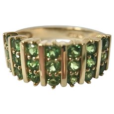 14K Gold Graduated Striped Green Stones Channel Band Ring