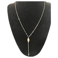 14K Gold Necklace with Oval Drop