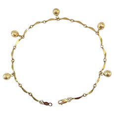 14K Gold Bracelet with Dangling Beads