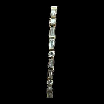 14K Gold Link Cubic Zirconia Tennis Bracelet