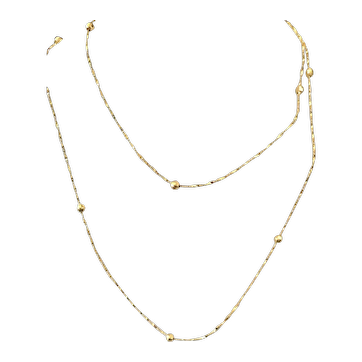 """!4K Gold Bead and Twisted Chain Necklace 32"""" Long"""